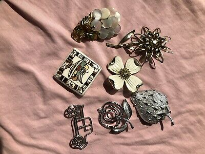 $ CDN9.99 • Buy Lot Of 7 Vintage Brooches Some Signed Sarah Coventry