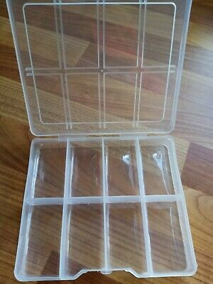 Small 8 Compartment Clear Plastic Storage Box Container Bead Crafts DIY Fishing  • 2.95£