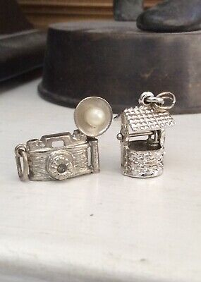 $ CDN12 • Buy LUCKY WISHING WELL, FLASH CAMERA  - 2 Vintage Sterling Bracelet Charm Lot