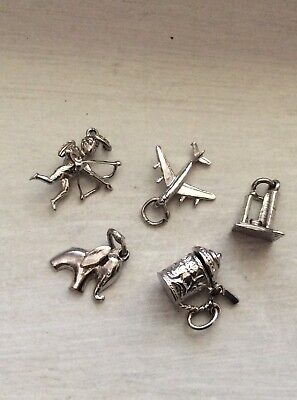 $ CDN15 • Buy HOUSEHOLD TRAVEL NOVELTY - 5 Vintage Sterling Bracelet Charm Lot