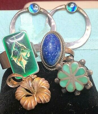 $ CDN16.87 • Buy Vintage Estate Sterling Silver Lot 3 Rings  Zuni Turquoise Southwestern Earrings