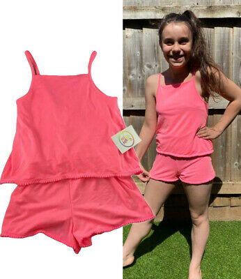 £5.22 • Buy NEW Girls Playsuit Pink Bright Summer Holiday Shorts Strappy Lounge Neon Beach