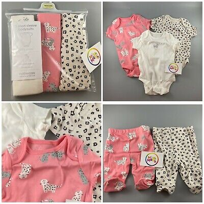 Baby Girls Mothercare Animal Print 3 Pack Bodysuits Vests Or Leggings Trousers • 6.25£
