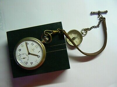 Rare Vintage 1939 British Army WW2 OMEGA Pocket Watch & Compass, Chain, Boxed   • 450£
