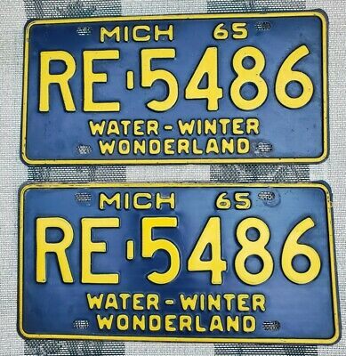 $ CDN13.56 • Buy 1965 Michigan License Plate Pair # RE-5486 Not Porcelain Tin Can Gas Oil Sign