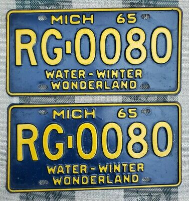 $ CDN13.56 • Buy 1965 Michigan License Plate Pair # RG-0080 Not Porcelain Tin Can Gas Oil Sign