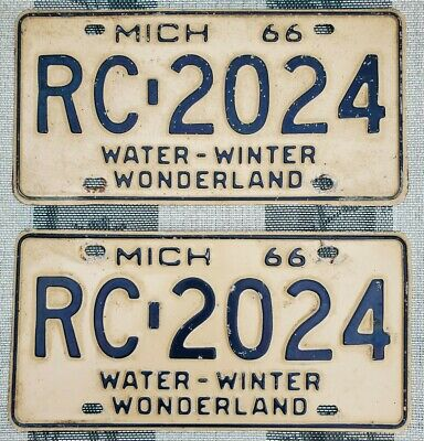$ CDN13.56 • Buy 1966 Michigan License Plate Pair # RC-2024 Not Porcelain Tin Can Gas Oil Sign