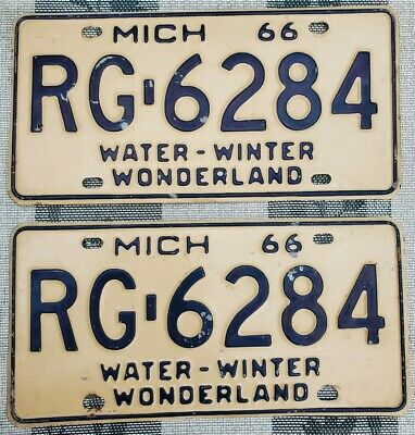$ CDN13.56 • Buy 1966 Michigan License Plate Pair # RG-6284 Not Porcelain Tin Can Gas Oil Sign