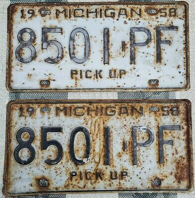 $ CDN13.56 • Buy 1958 Michigan Pickup License Plate Pair # 8501-PF Not Porcelain Tin Gas Oil Sign