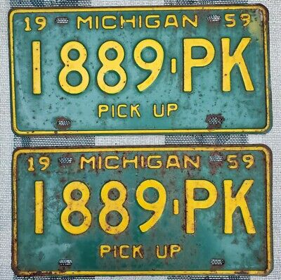 $ CDN13.56 • Buy 1959 Michigan Pickup License Plate Pair # 1889-PK Not Porcelain Tin Gas Oil Sign