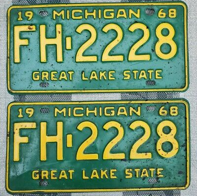 $ CDN13.56 • Buy 1968 Michigan Pickup License Plate Pair # FH-2228 Not Porcelain Tin Gas Oil Sign