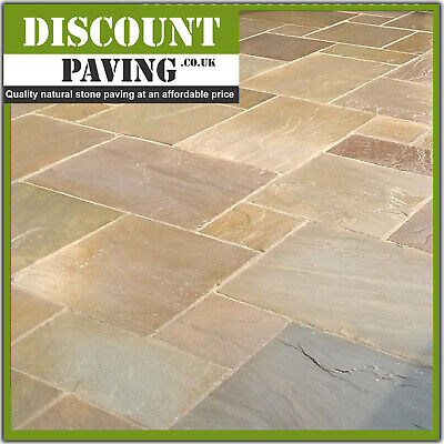 £525 • Buy Raj Green 22mm CALIBRATED 18.90m2 Mix Patio Indian Sandstone Paving BEST PRICE!
