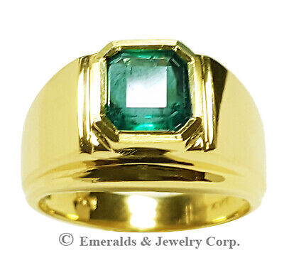 $2420 • Buy Men's Pinky Ring Square Emerald-cut Natural Emerald 14K Yellow Gold