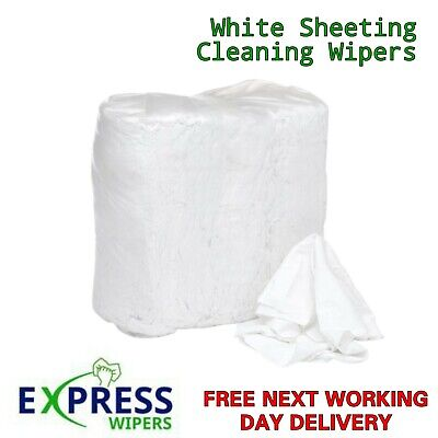 £7.99 • Buy White 100% Cotton Lint Free Industrial Garage Cleaning Wiping Rags Wipers Cloths