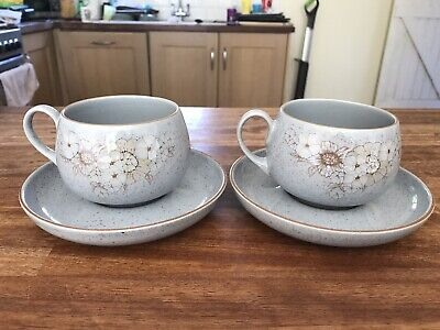 Denby Reflections 2 Tea Cups With Saucers • 9£