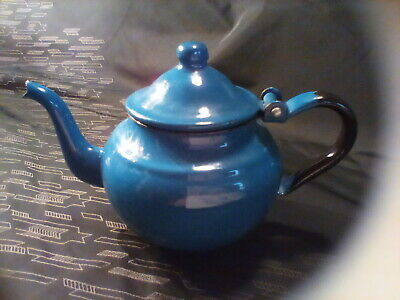 $25.49 • Buy Vintage Small Enamelware Granite Cobalt Blue Small Tea Pot Kettle Enamel
