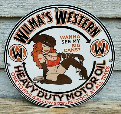 $ CDN92.03 • Buy VINTAGE PORCELAIN WILMAS WESTERN HEAVY DUTY  GAS AND OIL SIGN Cow Girl Pin Up