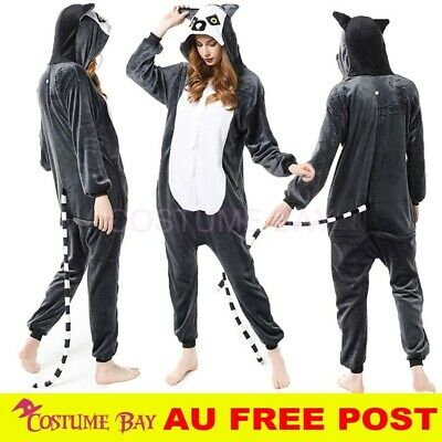 AU27.95 • Buy AU Lemur Jumpsuit Onesie Adult Kigurumi Unisex Pajamas Costume Birthday Party