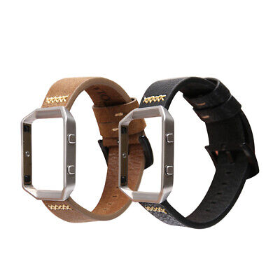 $ CDN15.25 • Buy █ For Fitbit Blaze Band Accessory Genuine Leather Wrist Watch Band + Steel Frame