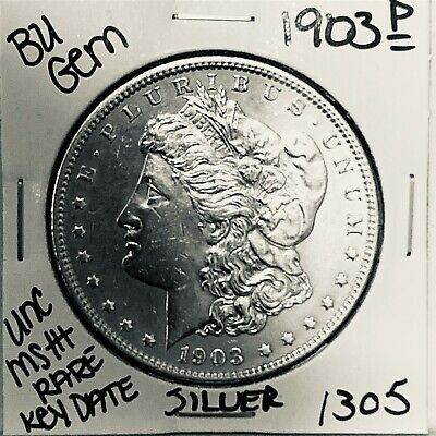 $7.50 • Buy 1903 Bu Gem Morgan Silver Dollar Unc Ms+++ U.s. Mint Rare Key Coin 1305