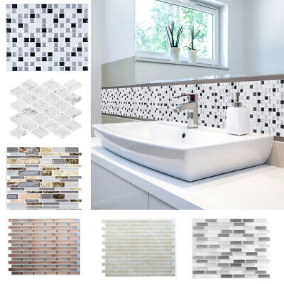 Kitchen Bathroom Tile Stickers 3D Mosaic Self-adhesive Wall Cover Decal Anti-Oil • 9.95£