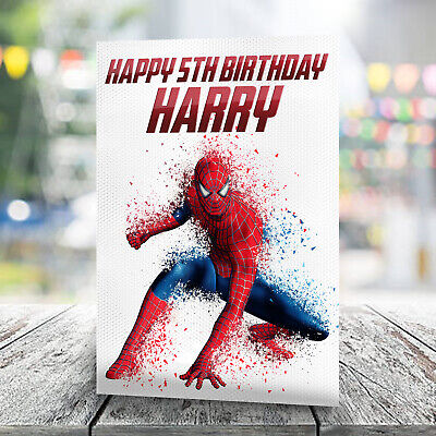 Spider-Man Birthday Card - Personalised With Any Name And Age. Marvel • 2.99£
