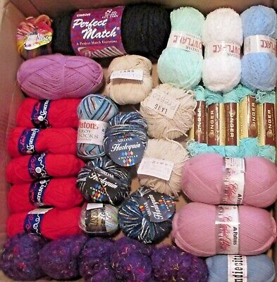 $29.99 • Buy 90 NEW Skeins ASSORTED Wool, Acrylic, Alpaca Yarn ~ Patons,Unger,Lang,Plymouth +