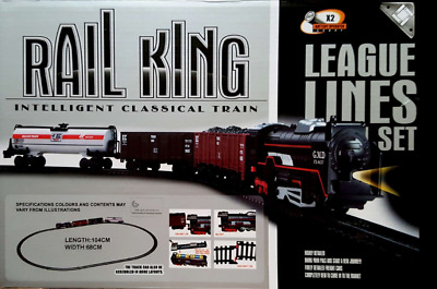 Rail King Toy Train Set Track Carriages, Lights, Engine, Boxed For  Kids 104cm • 8.95£