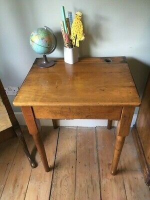 1930's SOLDID WOOD TURNED LEG SINGLE SCHOOL DESK ORIGINAL CONDITION HINGED LID • 3£