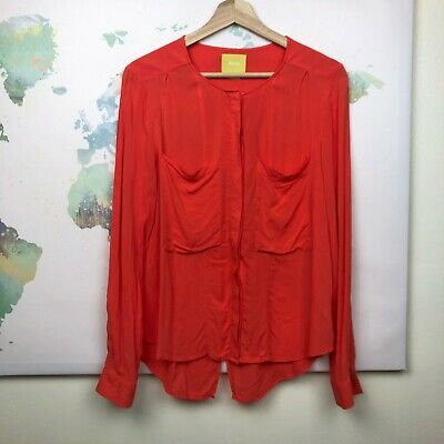 $ CDN38.09 • Buy Anthropologie Maeve Button Down Top Size 6 Orange Split Hem Chest Pockets Rayon