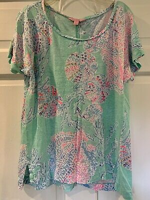$12.99 • Buy Lilly Pulitzer Size S Small Short Sleeve Linen Top Seashells