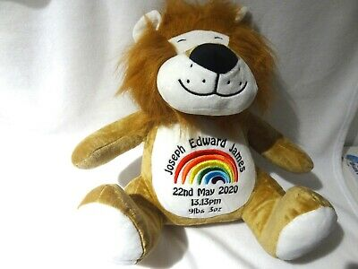 Personalised Teddy - Lion  - Beautifully Embroidered Gift Any Text Rainbow • 22.99£