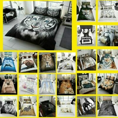3D Animal Printed Duvet Cover Pillow Cases Quilt Bedding Set Single Double King • 17.92£