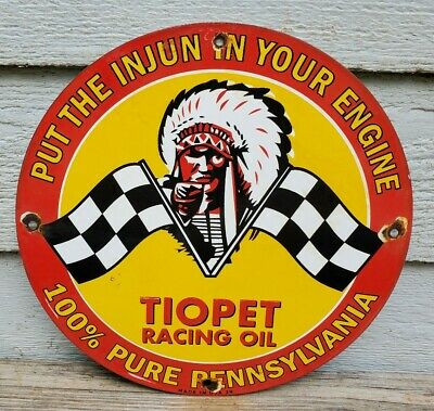 $ CDN62.25 • Buy Vintage Tiopet Racing Oil Porcelain Sign Gas Oil Pump Plate Service Station Rare