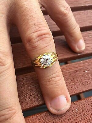 Gents Antique Diamond Solitaire Gypsy Ring 1.31ct  Heavy 18ct Gold 5.1g Size N • 870£