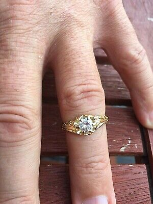 Gents Antique Diamond Solitaire Gypsy Ring 0.66ct  Heavy 18ct Gold Very Old Ring • 500£