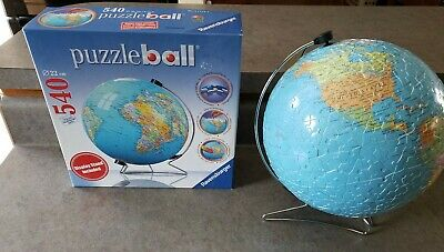 $20.88 • Buy Ravensburger 3D Puzzle Ball World Globe 540 Pieces With Display Stand COMPLETE