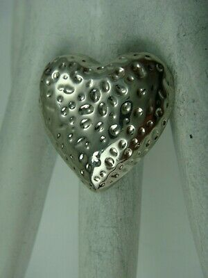 $ CDN24.39 • Buy Vintage Lia Sophia Hammered Heart Silver Tone Ring Size 8