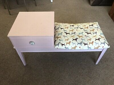 Hand Painted Annie Sloan Pink Telephone Desk Fabric Seat • 9.99£