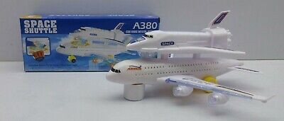Kids Space Shuttle Double Decker Airplane A380 With 3D Light & Fly Off Sound Toy • 11.99£