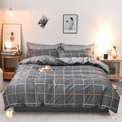 AU32.90 • Buy Doona Duvet Quilt Cover Pillowcase Set Double Queen King Size Grey Checked