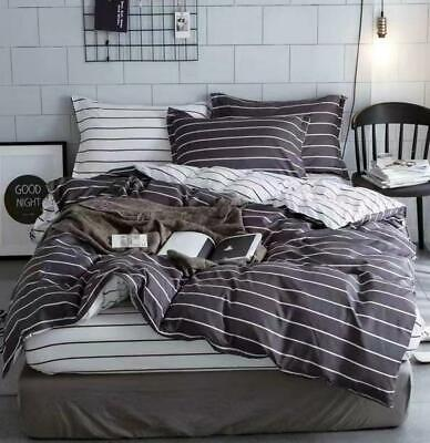 AU32.90 • Buy Doona Duvet Quilt Cover Pillowcase Set Double Queen King Size Grey White Stripe