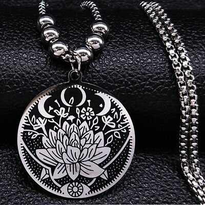 $ CDN15.53 • Buy Stainless Steel Lotus Flower Pendant Necklace FREE POUCH Buddha Buddhist Hindu