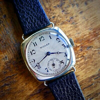 A STUNNING GENTS 1920s VINTAGE ROLEX MILITARY OFFICERS TRENCH WATCH IN SILVER • 840£