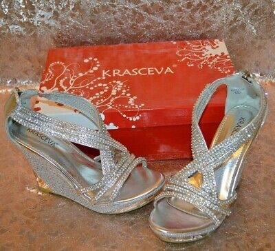 £60 Krasceva Diamond Jewel Silver Party Wedding Prom Sandal Shoe Size 3 Uk 36eu • 22£