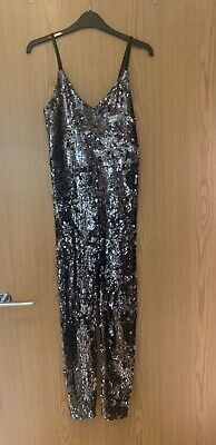Topshop Silver-Grey Sequin Jumpsuit Catsuit Size 8 STUNNING ❤️  • 3.20£