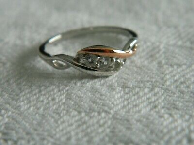 Clogau Silver & 9ct Rose Gold Past, Present, Future Ring RRP £79.00 Size P • 55£