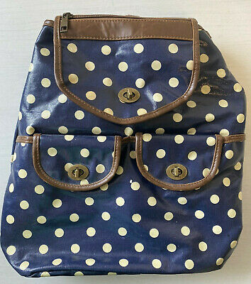 Navy Blue And White Oilcloth Waterproof Backpack Adjustable Straps  • 7.99£