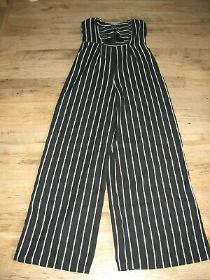 Forever21 Playsuit Jumpsuit Wide Leg Stripes Bandeau Elasticated Summer NEW • 3.99£
