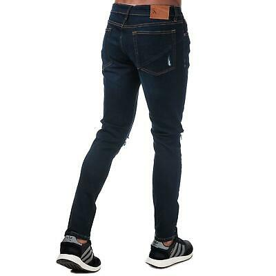 Ringspun Mens Hercules Super Skinny Fit Jeans W30 L34 Black Distressed Stretch • 18.98£
